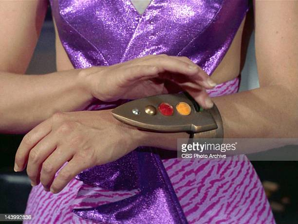 Marj Dusay as Kara using a device that stuns the crew of the Enterprise in the STAR TREK episode Spock's Brain Original airdate September 20 1968...