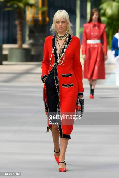 Marja Jonkman walks the runway during Chanel Cruise 2020 Collection at Le Grand Palais on May 3 2019 in Paris France