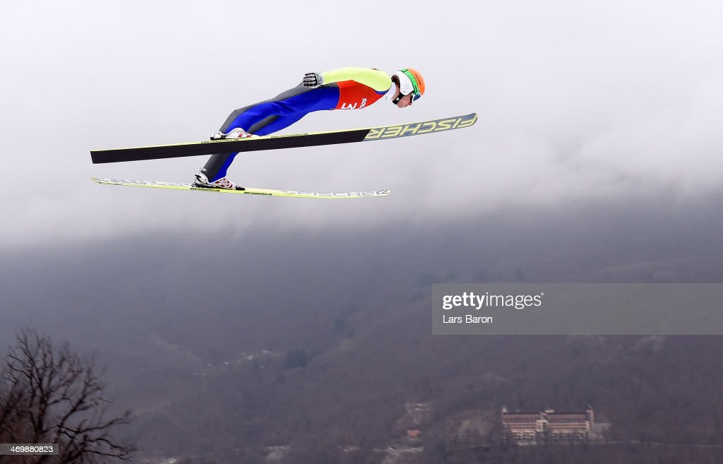 Marjan Jelenko of Slovenia jumps during the Nordic Combined Individual Large Hill official training on day 10 of the Sochi 2014 Winter Olympics at RusSki Gorki Jumping Center on February 17, 2014 in Sochi, Russia.