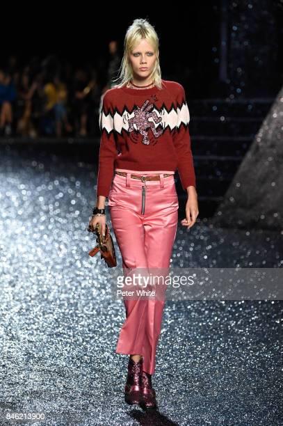 Marjan Jonkman walks the runway at Coach Fashion Show during New York Fashion Week on September 12, 2017 in New York City.