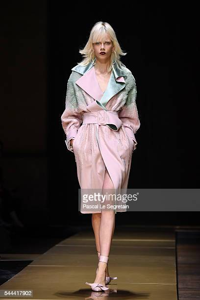 Marjan Jonkman walks the runway during the Atelier Versace Haute Couture Fall/Winter 20162017 show as part of Paris Fashion Week on July 3 2016 in...