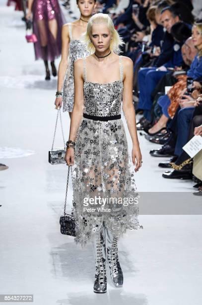 Marjan Jonkman walks the runway during the Christian Dior show as part of the Paris Fashion Week Womenswear Spring/Summer 2018 on September 26 2017...