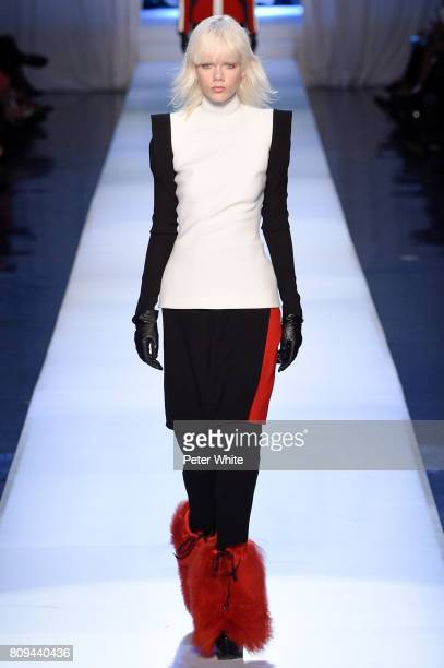 Marjan Jonkman walks the runway during the Jean Paul Gaultier Haute Couture Fall/Winter 2017-2018 show as part of Haute Couture Paris Fashion Week on...