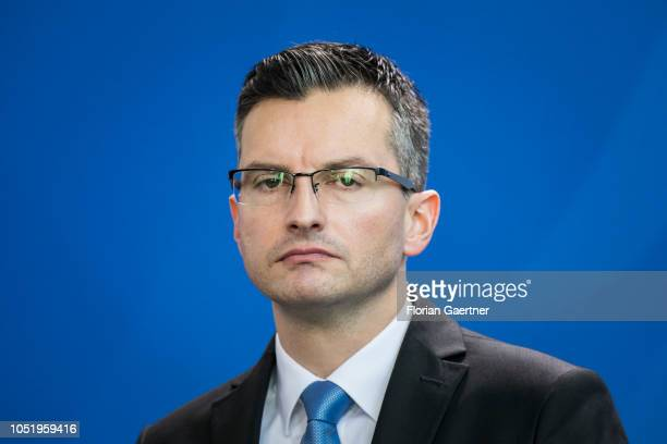 Marjan Sarec Prime Minister of Slovenia is pictured during press conference with German Chancellor Angela Merkel at the Federal Chancellery on...
