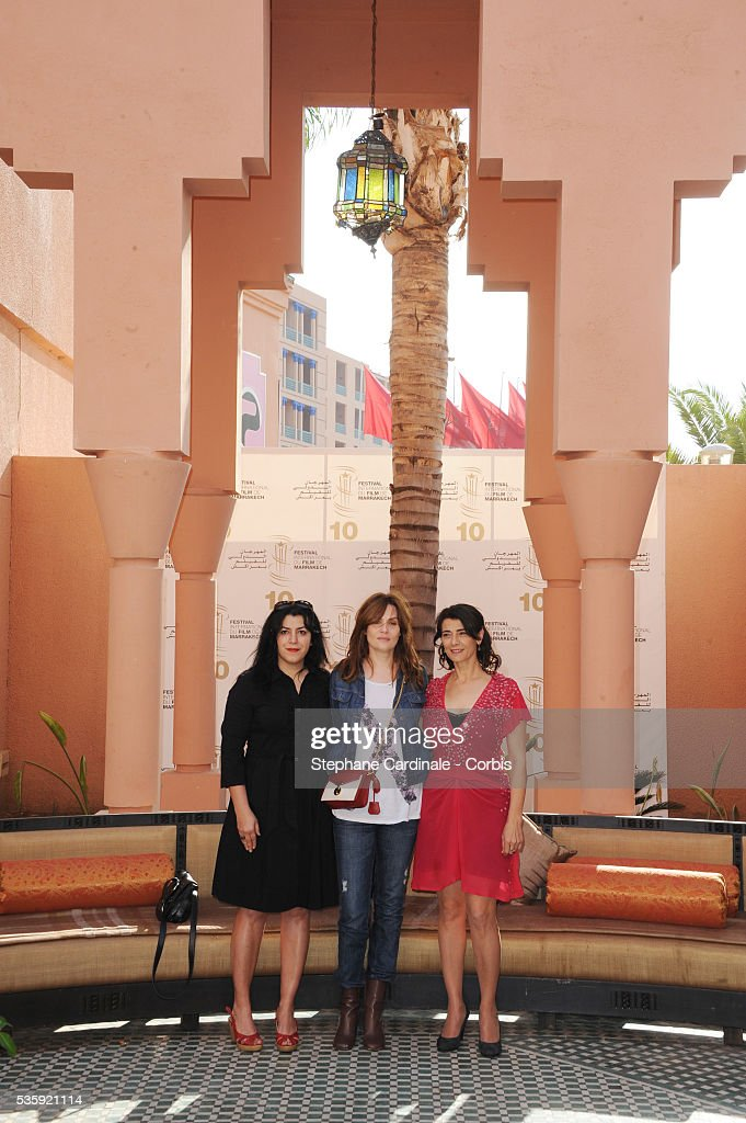 Marjane Satrapi, Emmanuelle Seigner and Hiam Abbas attend the Photocall of the Short Film Jury, during the10th Marrakech Film Festival, in Marrakech.