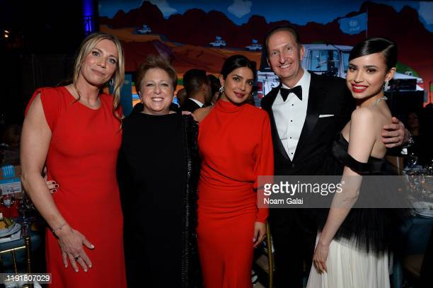 Marjolein Steenbergen Caryl M Stern Priyanka Chopra Jonas Ewout Steenbergen and Sofia Carson attend the 15th Annual UNICEF Snowflake Ball 2019 at...