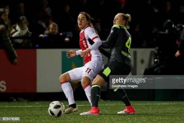 Marjolijn van den Bighelaar of Ajax Women Lucie Akkerman of PSV Women during the Dutch Eredivisie Women match between Ajax v PSV at the De Toekomst...