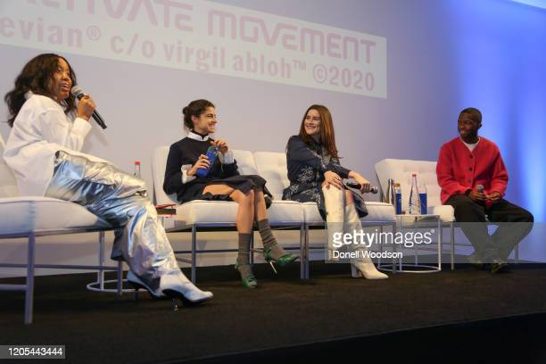 Marjon Carlos moderates a panel discussion at the Evian Virgil Abloh Collaboration party at Milk Studios on February 10 2020 in New York City