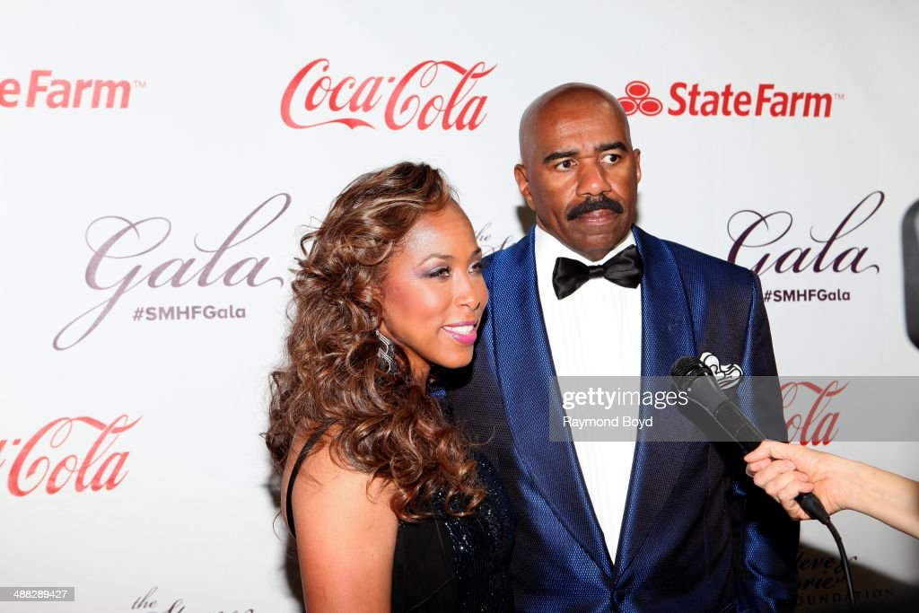 Marjorie and Steve Harvey are interviewed at the 2014 Steve and Marjorie Harvey Foundation Gala presented by Coca-Cola at the Hilton Chicago on May 3, 2014 in Chicago, Illinois.