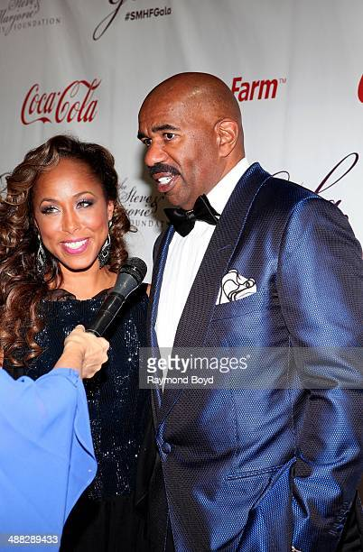 Marjorie and Steve Harvey are interviewed at the 2014 Steve and Marjorie Harvey Foundation Gala presented by CocaCola at the Hilton Chicago on May 3...