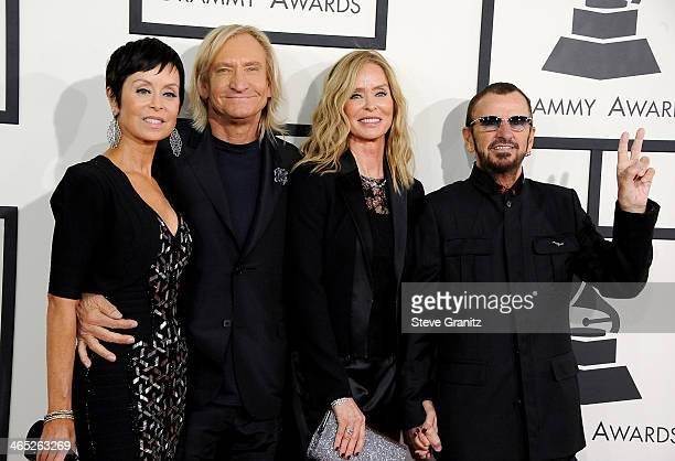 Marjorie Bach recording artist Joe Walsh actress Barbara Bach and recording artist Ringo Starr attend the 56th GRAMMY Awards at Staples Center on...