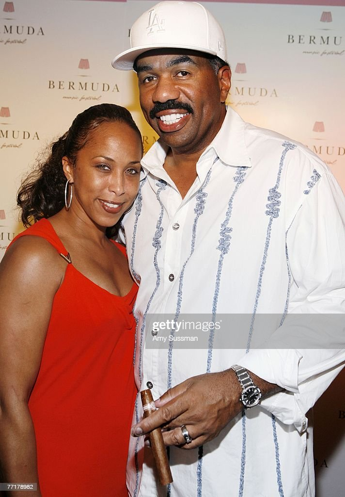 Marjorie Bridges (L) and comedian Steve Harvey (R) attend the first night of the Bermuda Music Festival at Southampton Beach Club on October 3, 2007 in Southampton, Bermuda.