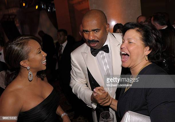 Marjorie Bridges Harvey Steve Harvey and President and Chief Operating Officer of BET Deborah Lee attend the New York Gala benefiting The Steve...