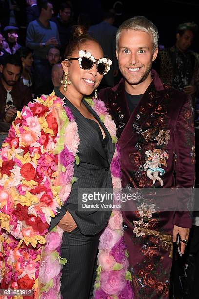 Marjorie BridgesWoods and Guilherme Siqueira attend the Dolce Gabbana show during Milan Men's Fashion Week Fall/Winter 2017/18 on January 14 2017 in...