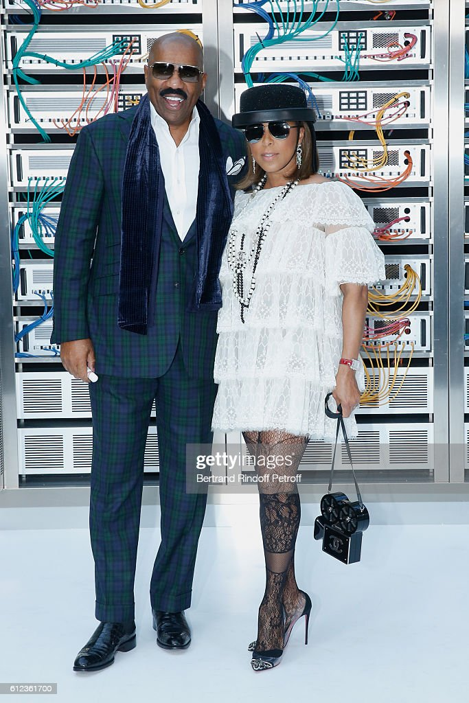 Marjorie Bridges-Woods and Steve Harvey attend the Chanel show as part of the Paris Fashion Week Womenswear Spring/Summer 2017 on October 4, 2016 in Paris, France.