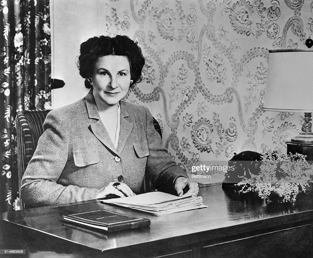 Marjorie Child Husted Seated at Desk : News Photo