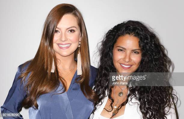 Marjorie de Sousa and Nitzy Dominguez visit the Enrique Santos Show At I Heart Latino Studio on February 20 2018 in Miami Florida