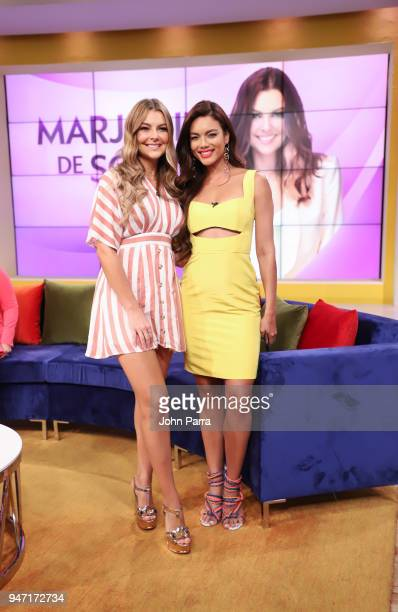 Marjorie De Sousa and Zuleyka Rivera are seen at Telemundo's Un Nuevo Dia on April 16 2018 in Miami Florida