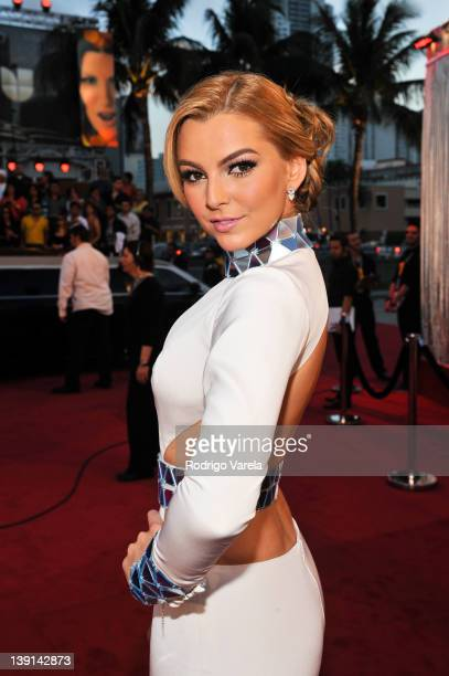 Marjorie de Sousa arrives at the Premio Lo Nuestro a La Musica Latina at American Airlines Arena on February 16 2012 in Miami Florida