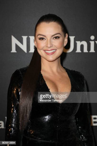 Marjorie De Sousa arrives at the Telemundo and NBC Universal Latin America NATPE Red Carpet Event at LIV at the Fontainebleau on January 16 2018 in...