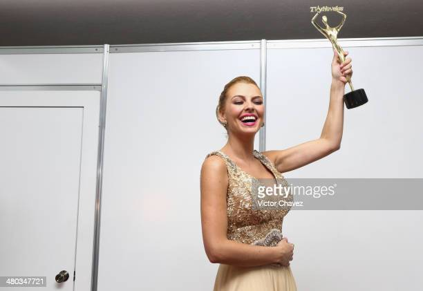 Marjorie de Sousa poses in the press room during the Premios Tv y Novelas 2014 at Televisa Santa on March 23 2014 in Mexico City Mexico