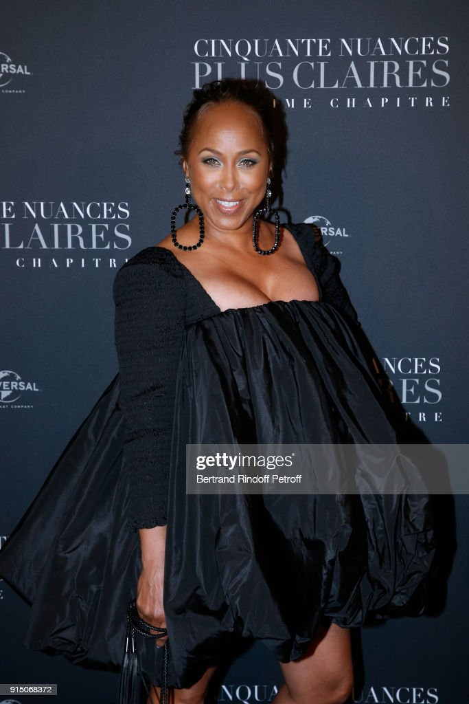 Marjorie Elaine Harvey attends the 'Fifty Shades Freed - 50 Nuances Plus Clair' Paris Premiere at Salle Pleyel on February 6, 2018 in Paris, France.