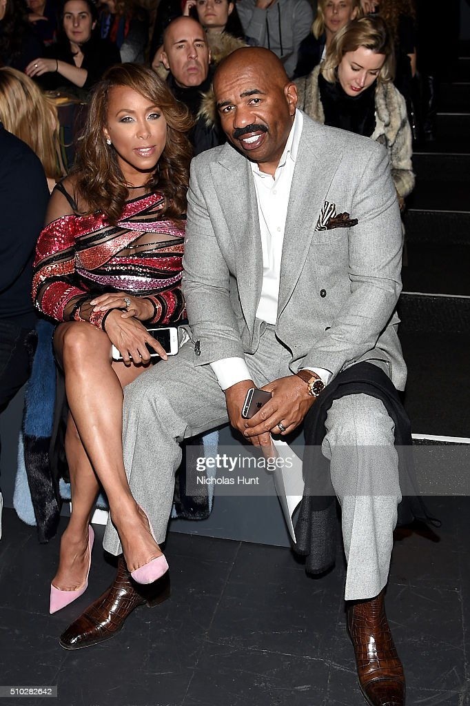 Marjorie Harvey (L) and Steve Harvey attend the Prabal Gurung Fall 2016 fashion show during New York Fashion Week: The Shows at The Arc, Skylight at Moynihan Station on February 14, 2016 in New York City.