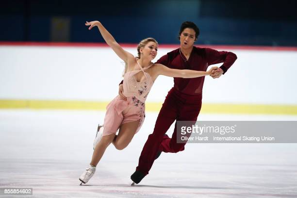Marjorie Lajoie and Zachary Lagha of Canada performs in the Junior Ice Dance Free Dance Program during day four of the ISU Junior Grand Prix of...