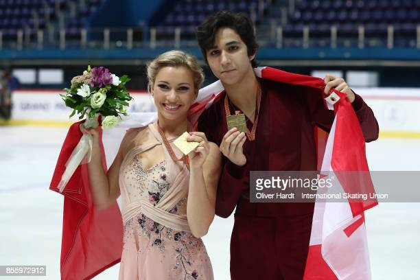Marjorie Lajoie and Zachary Lagha of Canada poses with the gold medal after the Junior Ice Dance Free Dance Program during day four of the ISU Junior...
