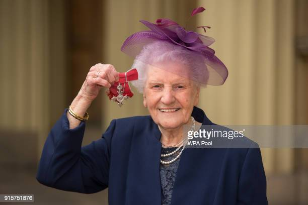 Marjorie Maskrey with her MBE medal following an investiture ceremony at Buckingham Palace on February 8 2018 in London England
