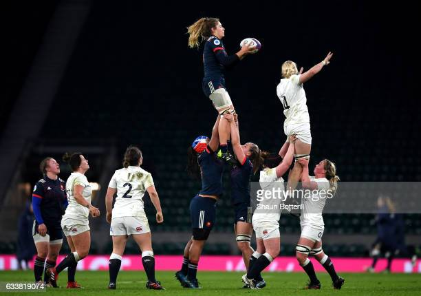 Marjorie Mayans of France and Tamara Taylor of England attempt to catch the line out throw during the Women's Six Nations match between England and...