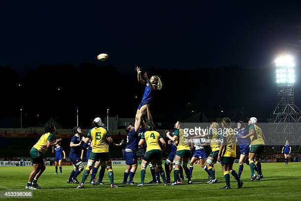Marjorie Mayans of France catches a lineout during the IRB Women's Rugby World Cup Pool C match between Australia and France at the French Rugby...