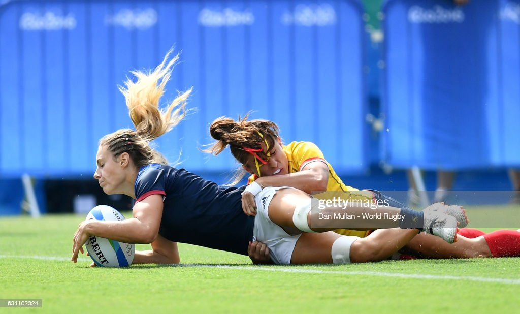Marjorie Mayans of France dives over for a try during the Women's Rugby Sevens placing match between Spain and France on day 3 of the Rio 2016 Olympic Games at Deodoro Stadium on August 8, 2016 in Rio de Janeiro, Brazil.