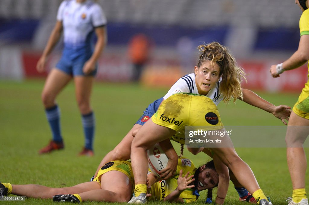 Marjorie Mayans of France in action during match between Australia and France at the HSBC Paris Sevens, stage of the Rugby Sevens World Series at Stade Jean Bouin on June 9, 2018 in Paris, France.