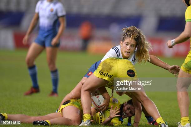 Marjorie Mayans of France in action during match between Australia and France at the HSBC Paris Sevens stage of the Rugby Sevens World Series at...