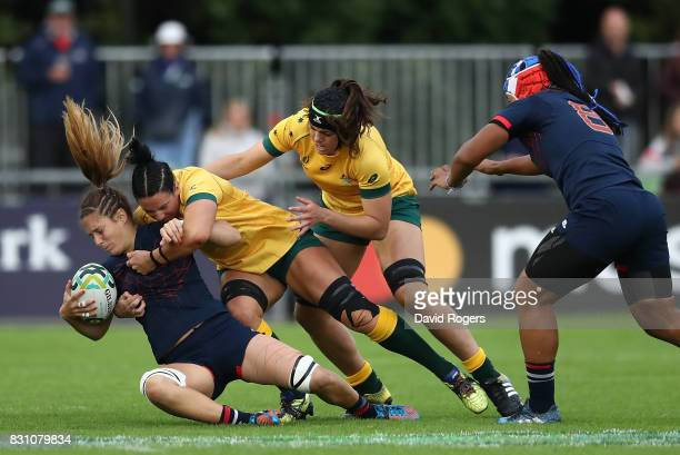 Marjorie Mayans of France is tackled by Mollie Gray of Australia during the Women's Rugby World Cup 2017 match between France and Australia on August...