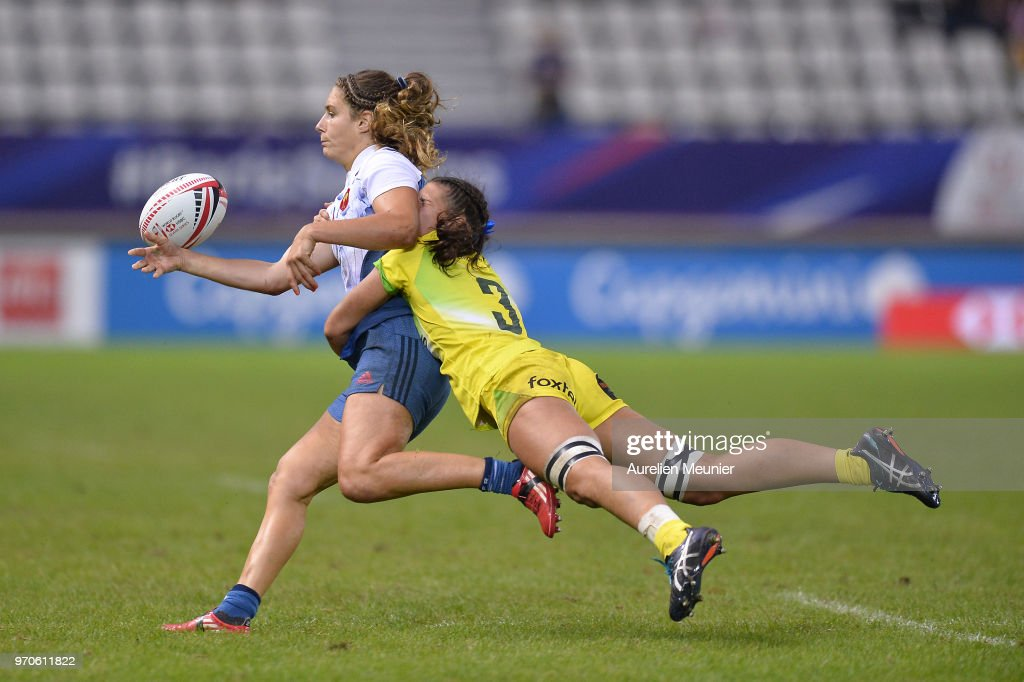 Marjorie Mayans of France is tackled during match between Australia and France at the HSBC Paris Sevens, stage of the Rugby Sevens World Series at Stade Jean Bouin on June 9, 2018 in Paris, France.