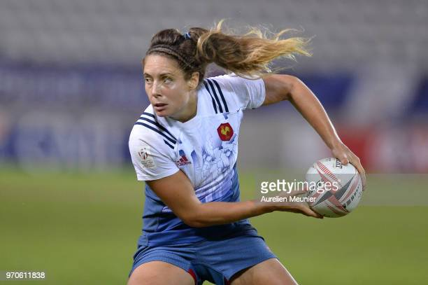 Marjorie Mayans of France passes the ball during match between Australia and France at the HSBC Paris Sevens stage of the Rugby Sevens World Series...