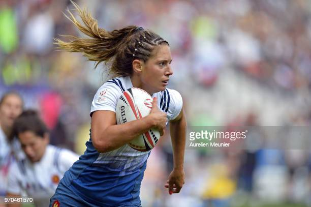 Marjorie Mayans of France runs with the ball during match between England and France at the HSBC Paris Sevens stage of the Rugby Sevens World Series...