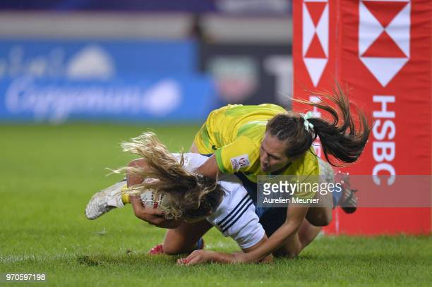 Marjorie Mayans of France scores a try during match between Australia and France at the HSBC Paris Sevens stage of the Rugby Sevens World Series at...