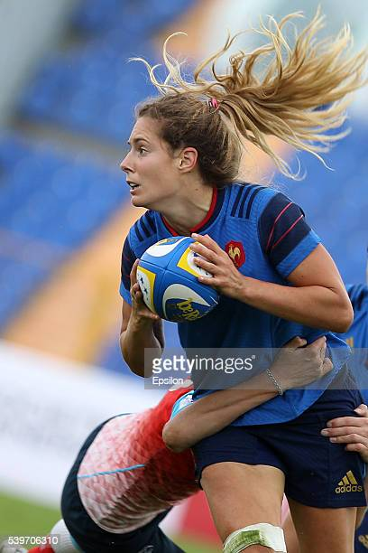 Marjorie Mayans of France vie for the ball during the Rugby 7's Grand Prix Series Women final match between Russia and France at Tsentralny stadium...