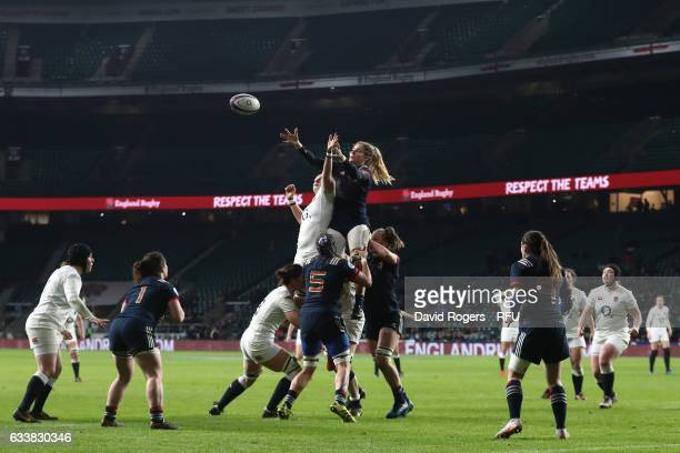 Marjorie Mayans of France wins lineout ball during the Women's Six Nations match between England and France at Twickenham Stadium on February 4 2017...