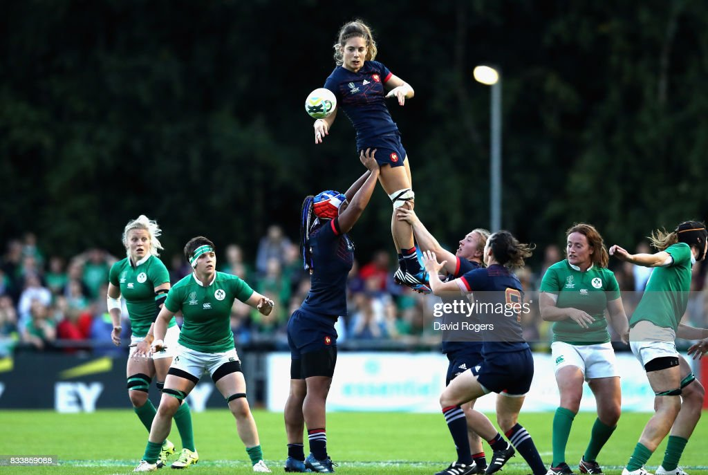 Marjorie Mayans of France wins the line out during the Women's Rugby World Cup Pool C match between France and Ireland at UCD Bowl on August 17, 2017 in Dublin, Ireland.