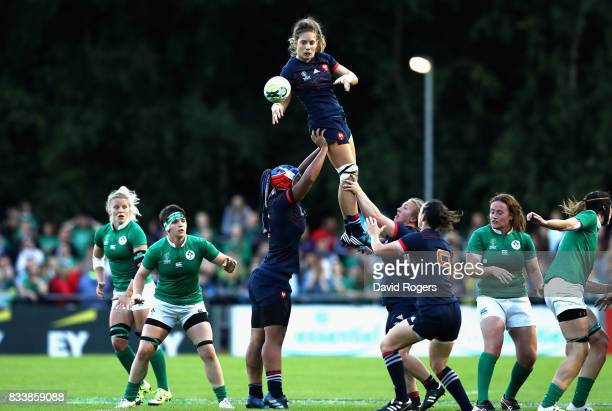 Marjorie Mayans of France wins the line out during the Women's Rugby World Cup Pool C match between France and Ireland at UCD Bowl on August 17 2017...