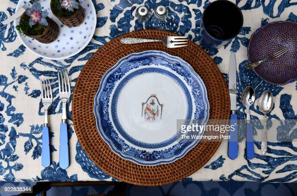 Marjorie Posts Chinese export porcelain circa 178586 is paired with Asian influences Danish Modern practical stemware and everyday flatware in the...