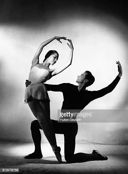 Marjorie Tallchief and George Skibine of the New York City Ballet in Balanchine's ballet Concerto Barocco which is set to the music of Bach's...