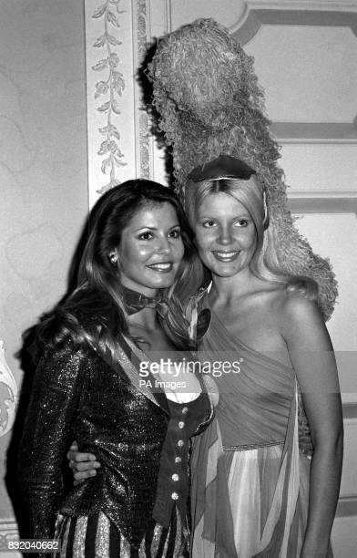 Marjorie Wallace as Miss United States and Veronica Cross as Miss United Kingdom were in close alliance when they appeared in their national costumes...