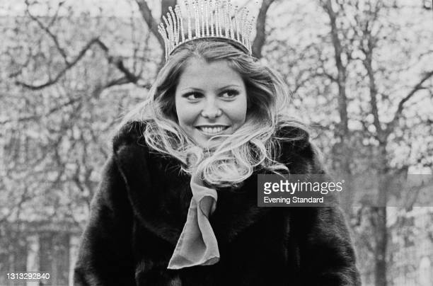 Marjorie Wallace, Miss USA, the day after winning the Miss World 1973 beauty pageant in London, UK, 24th November 1973. She was stripped of her title...