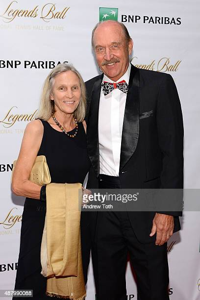 Marjory Gengler and ITHF President Stan Smith attend the 2015 International Tennis Hall of Fame legends ball at Cipriani 42nd Street on September 12...