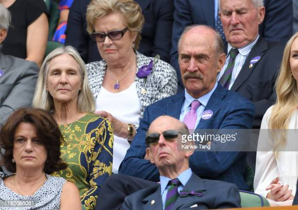 Marjory Gengler and Stan Smith attend Men's Finals Day of the Wimbledon Tennis Championships at All England Lawn Tennis and Croquet Club on July 14...